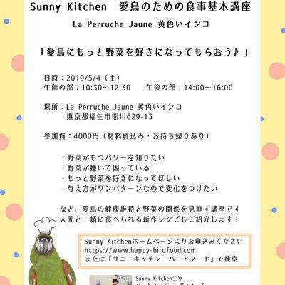 5/4(土)Sunny Kitchenさんの「愛鳥のためのお野菜セミナー♪」開催の記事に添付されている画像