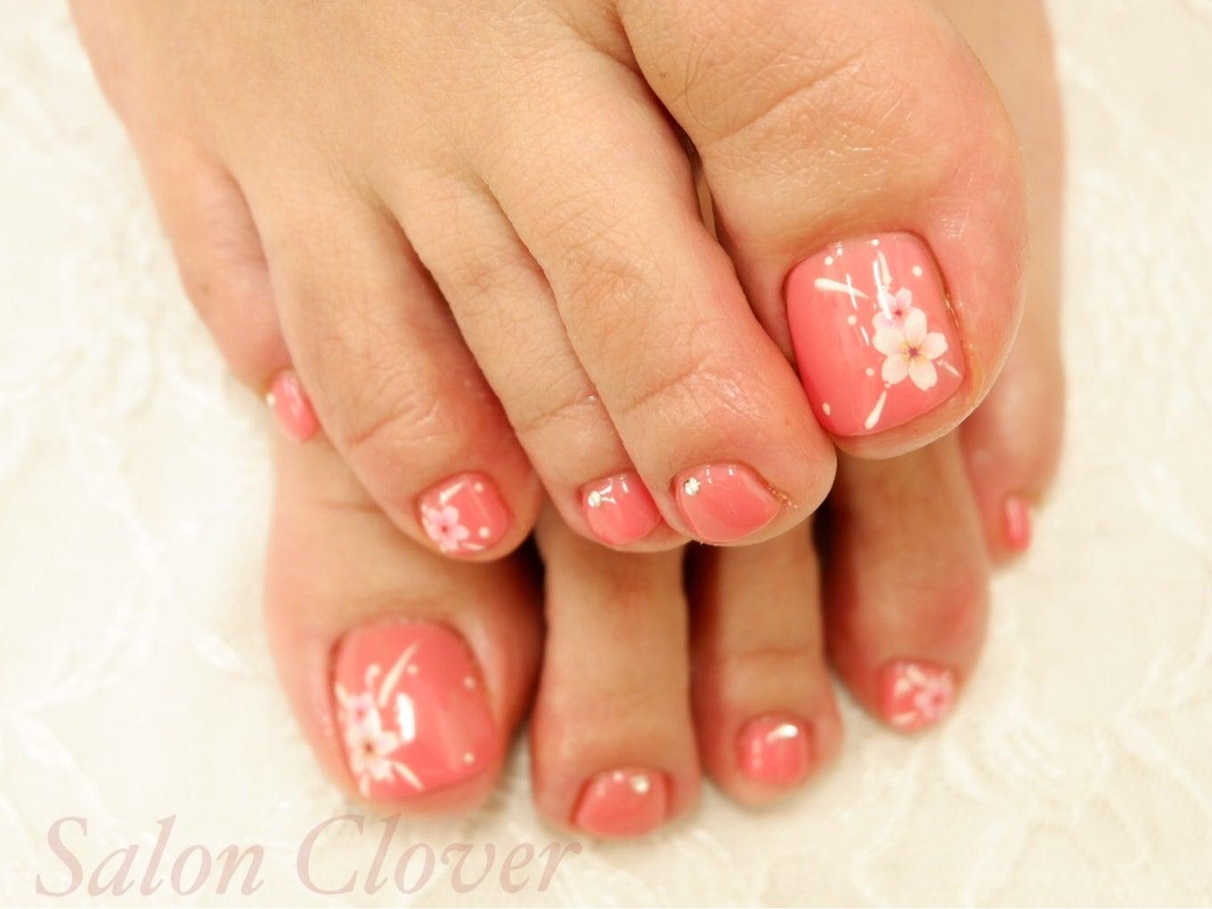 自爪をガリガリ削らない、自爪に優しいカルジェル♪春におすすめのピンクと桜、フットネイル