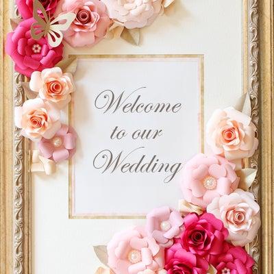 「おとなかわいい お花の切り紙スタイルブック」に掲載のウェルカムボードの記事に添付されている画像