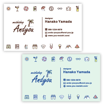 名刺 デザイン 名刺作成 ハワイ柄 ハワイアン おしゃれ かわいい