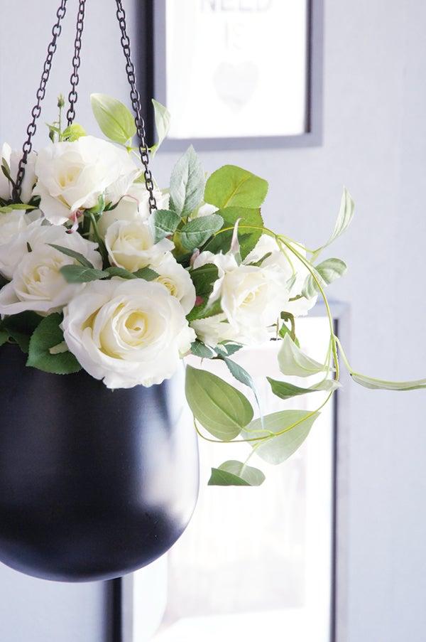 ホワイトローズ ハンギングスタイル 白いバラ 造花 アートフラワー