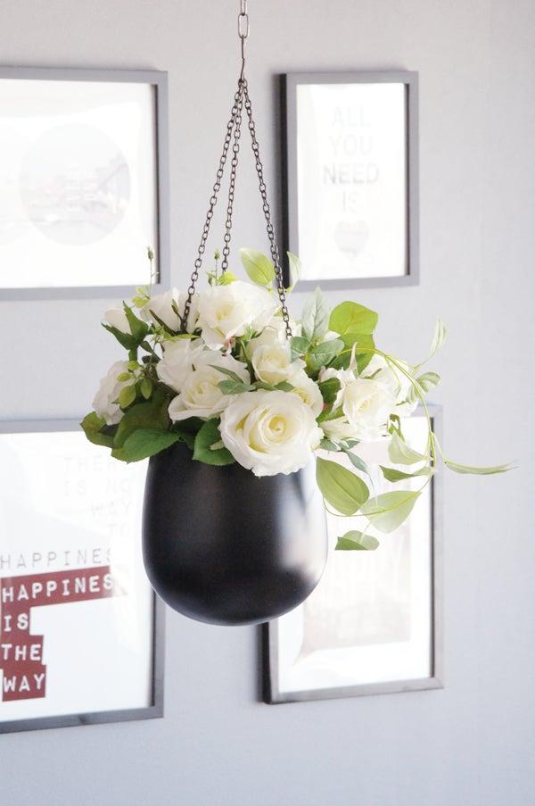 薔薇 ホワイトローズ 吊るすスタイル 白いバラ 造花 アートフラワー