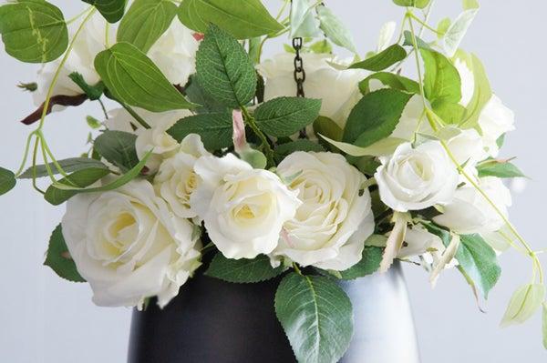 ホワイトローズ ハンギング 白いバラ 造花 アートフラワー