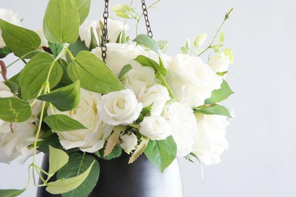 ホワイトローズ 吊るす 白いバラ 造花 アートフラワー