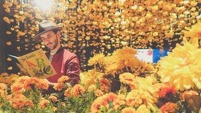 お花に囲まれて本を読む画像