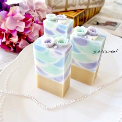 紫陽花カラーの水面模様石鹸☆那須野が原イベント♪の記事に添付されている画像