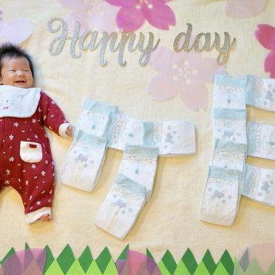 【明日夜は配信】1ヶ月寝相アート•*¨*•.¸¸♬3ヶ月差の詩愛ちゃんbabyとの記事に添付されている画像
