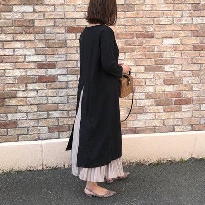 夫に褒められたスリットワンピにプリーツスカートの重ね着コーデ♪の記事に添付されている画像