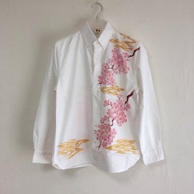 手描き桜柄長袖ボタンダウンシャツのオーダー。の記事に添付されている画像