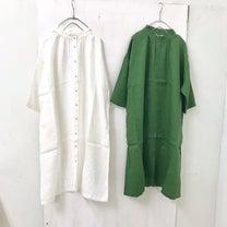 【新作 info】リネン 襟 タックフリル シャツワンピース ¥8900の記事に添付されている画像