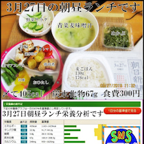 3月27日水曜日の朝昼ランチと栄養分析です。の記事に添付されている画像