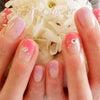 自爪をガリガリ削らない、自爪に優しいカルジェル☆オフィスにおすすめのシンプルなフレンチ春ネイルの画像