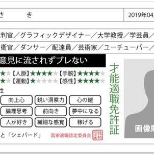 性格免許証の画像