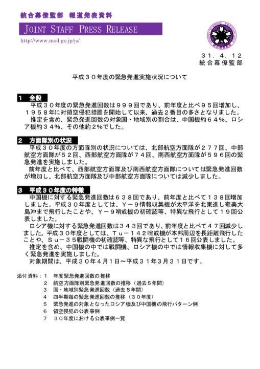 統合幕僚監部 平成30年度の緊急発進実施状況のお知らせ!   自衛隊協力 ...