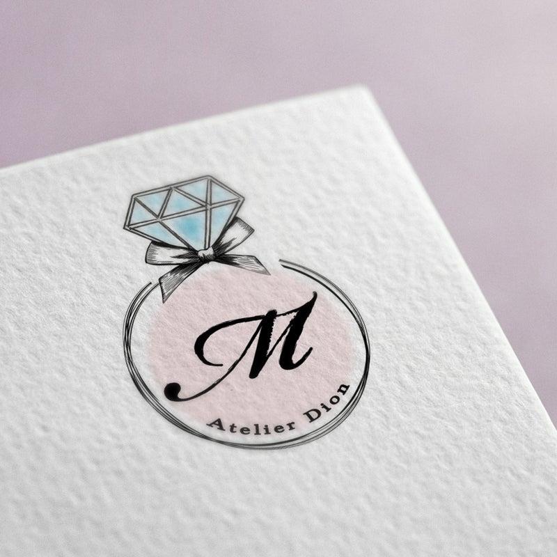 宝石の可愛い手書きロゴマークデザイン