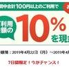 楽天銀行デビッドカードが10%還元のキャンペーンの画像
