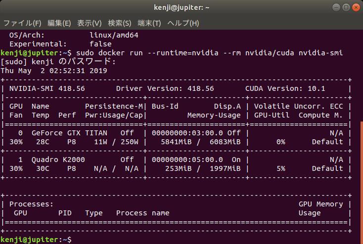Z620にDocker, nvidia-docker2をインストールする。 | ひとりごと
