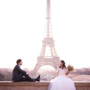 パリでブライダルフォト ーエッフェル塔ーの画像