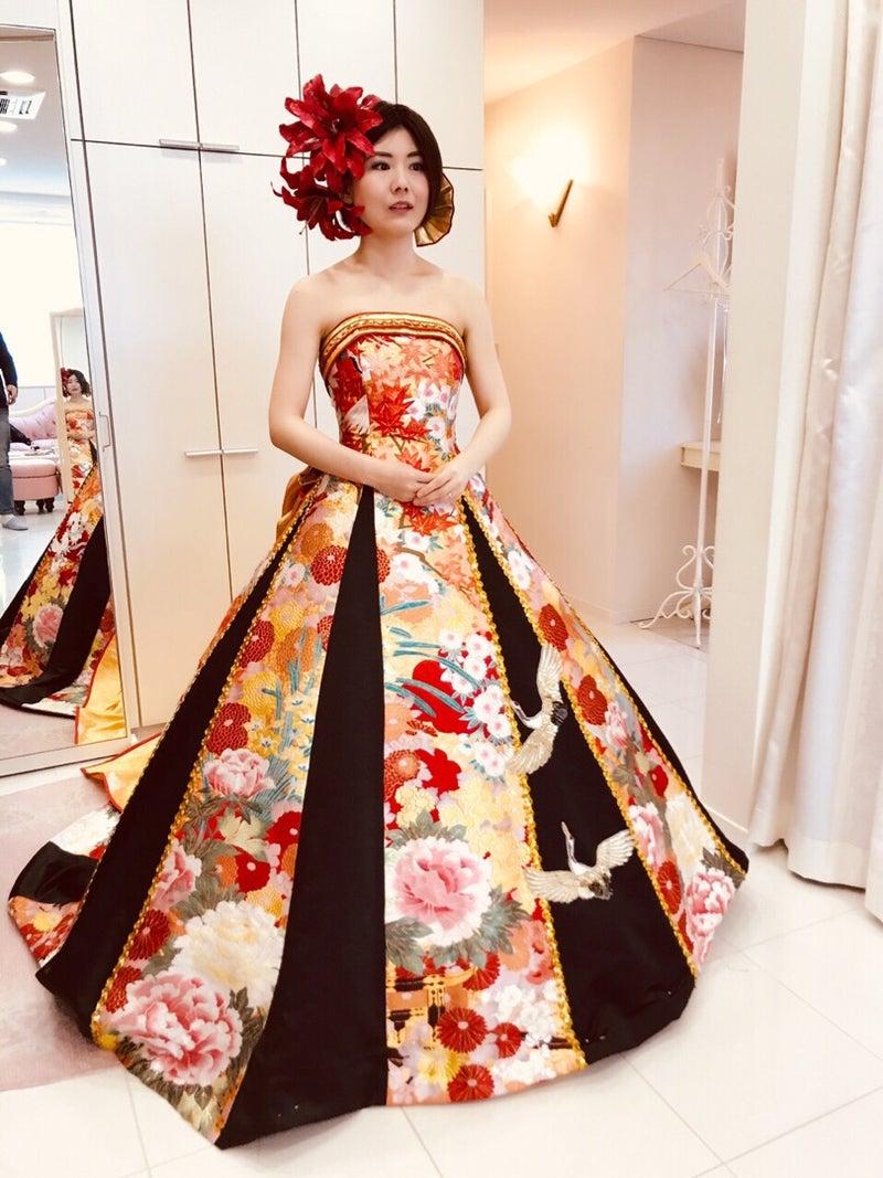 スッキリ細見え効果のAラインドレス 和ドレス アリアンサ