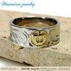 ハワイアンジュエリー ステンレスリング/指輪 K18イエローゴールド ホヌ 亀 マリッジ メンズの画像