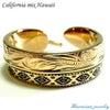 ハワイアンジュエリー リング/指輪 フェザー オルテガ柄 K14イエローゴールドコーティングの画像