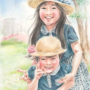 【パステル画】仲良し姉妹のポートレートの画像