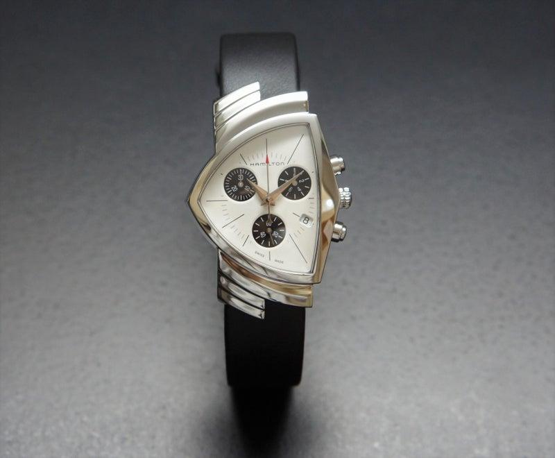 new product 266a0 99a72 新作 黒の世界に輝く白/ハミルトン ベンチュラ クロノクオーツ ...