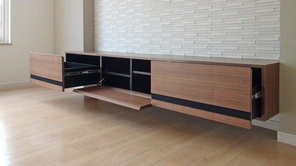 テレビボード製作例(N邸)大収納型のフロートテレビボード【全国対応】