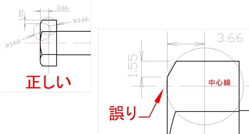 図1 六角ボルトの作図
