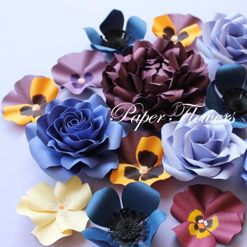前田京子のペーパーフラワー、ペーパーアートのブルーのバラ