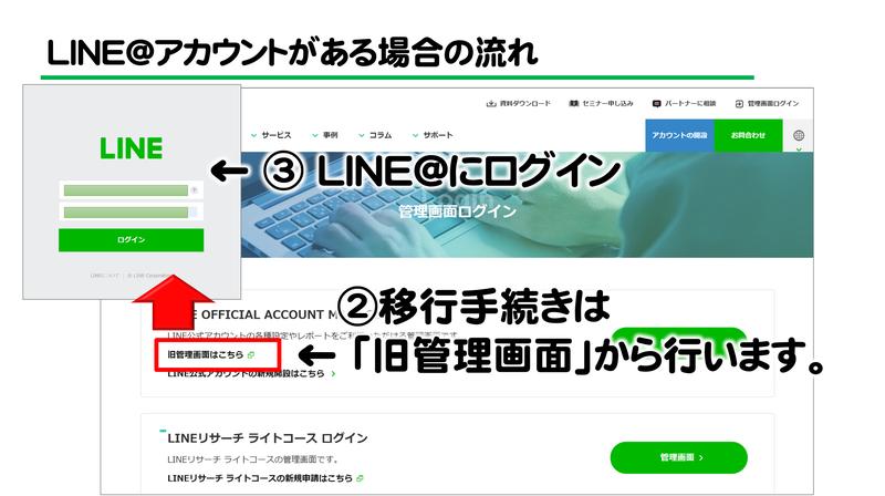 LINE@からLINE公式アカウントに移行 図解3