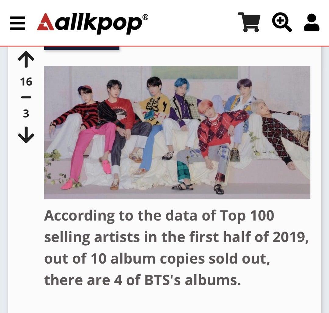 BTS、2019上半期の韓国のアルバム総売上枚数の40%を占める