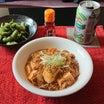 麻婆豆腐で昼酒。