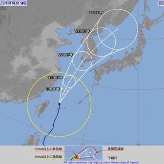 台風5号石垣島通過
