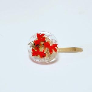 レジン★ミニチュア金魚のアクセサリーの画像