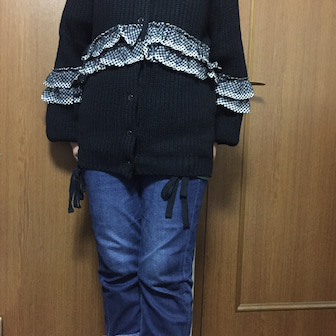 &LOVE・チェックフリルのラブリーニットカーディガン☆彡着画