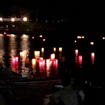 木崎湖、灯籠流しと花火大会
