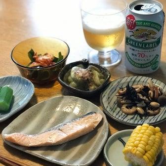 晩ご飯 鮭と常備菜