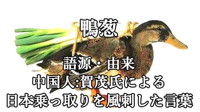 鴨 が 葱 を 背負っ て くる 由来