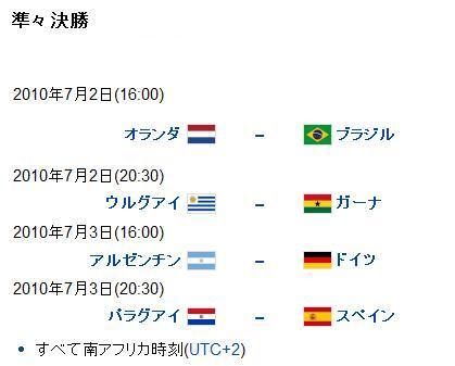 2010 FIFAワールドカップ 決勝トーナメント 準々決勝 | ぺんたのブログ