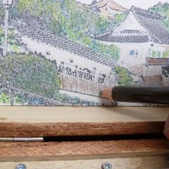 自作画材セット 瑠璃光寺を描く(完成)