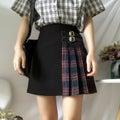 【韓国ファッション】スカート バイカラー ミニ丈 ブラックレッド チェック柄 アシンメトリー