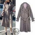【韓国ファッション】チェック柄 トレンチコート ロングコート チェックコート