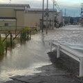 台風にて店浸水