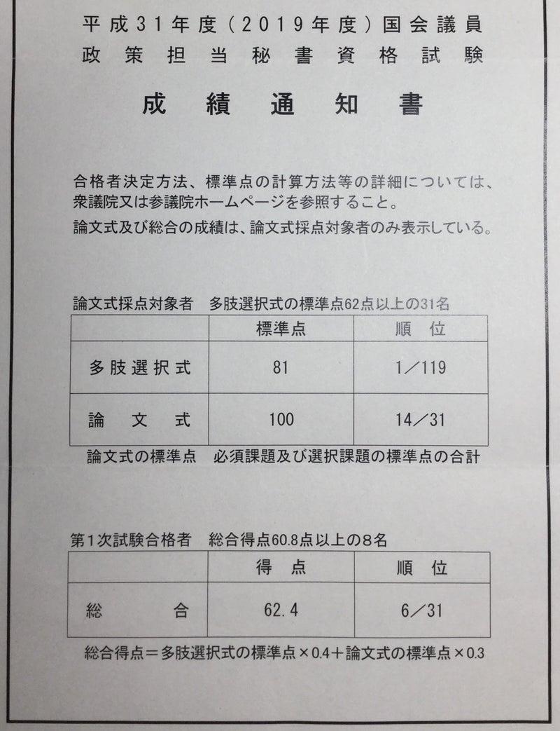 国会議員政策担当秘書(2019)成績通知書 | 化け役人@司法試験予備試験