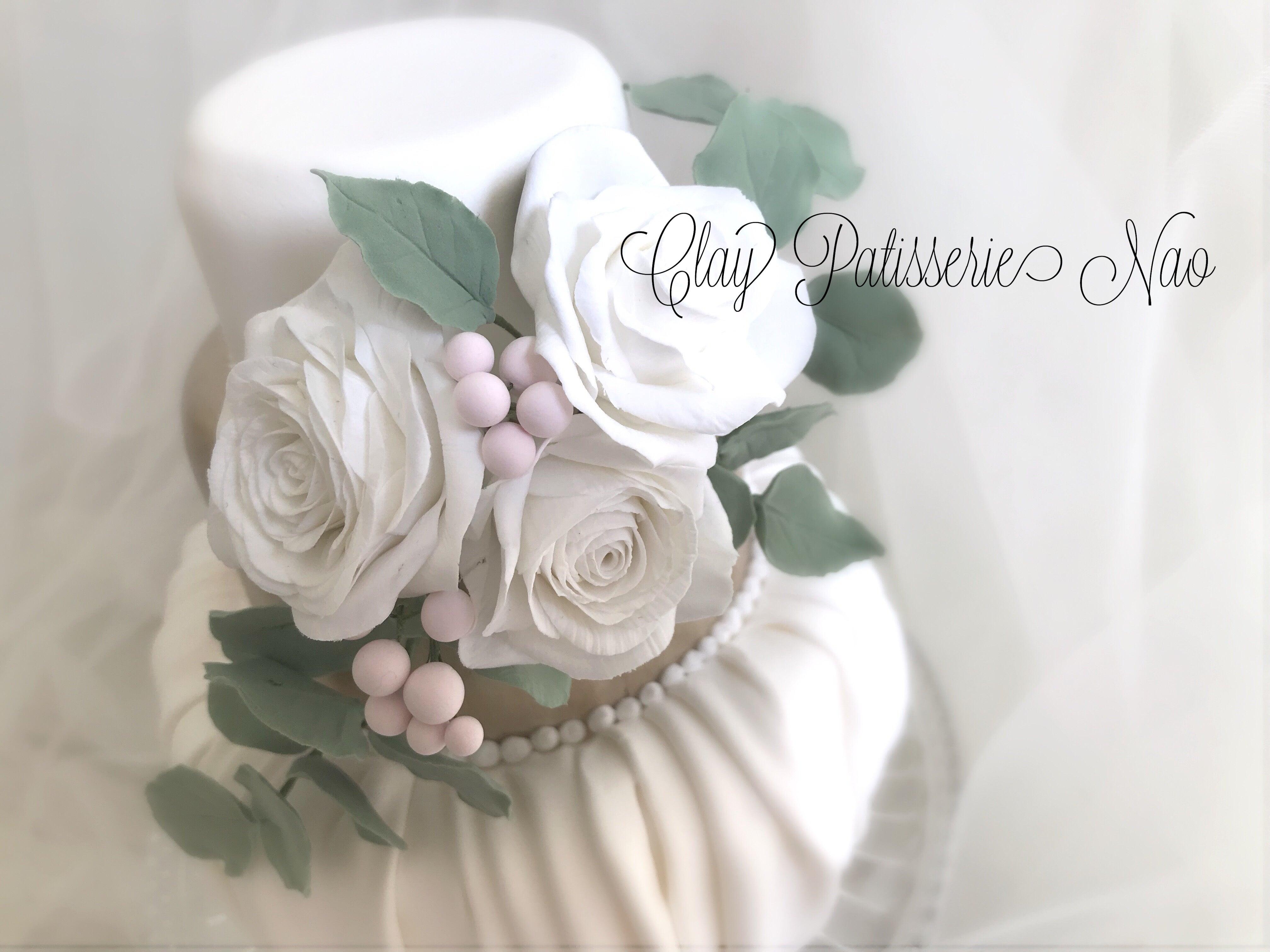 バラとドレープのクレイケーキ のご紹介✨