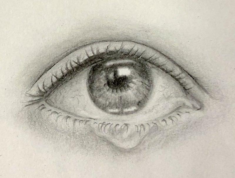 鉛筆画#1 涙目 | アート&ハンドメイド 器用貧乏の極み