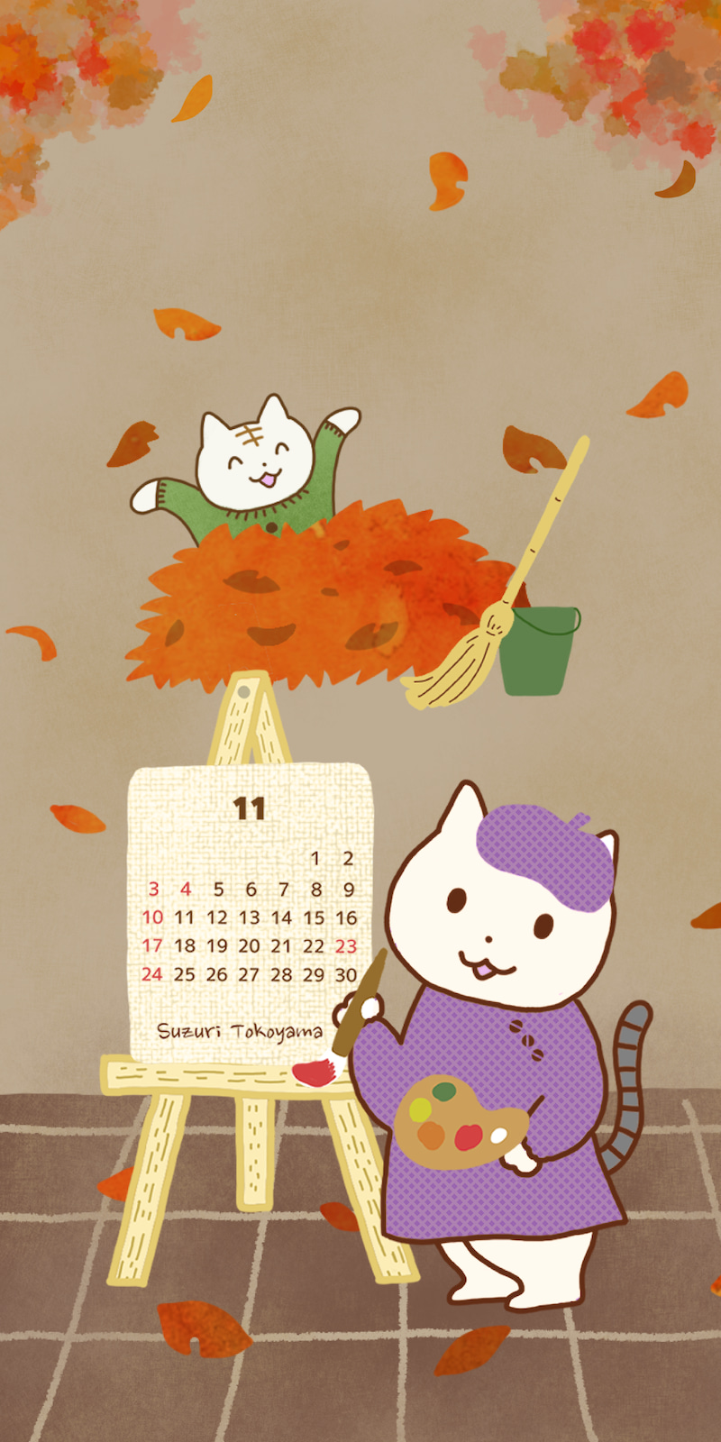 11月のスマホカレンダー できました 大フク猫まんが