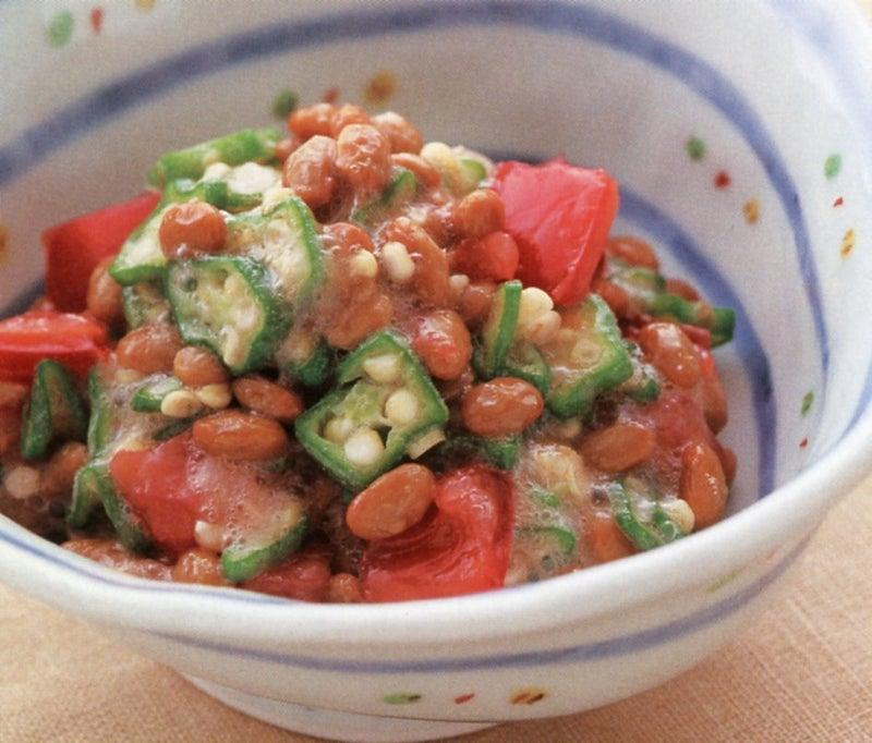 納豆とオクラ、トマトのあえもの