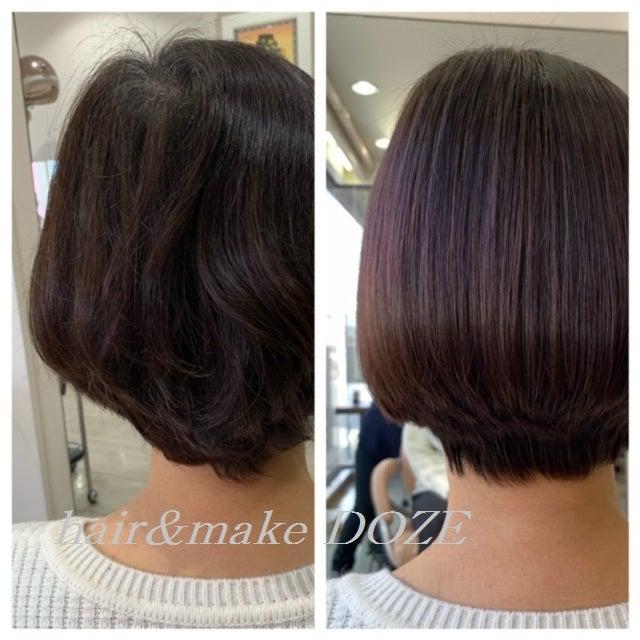 この収まりはアロマカラー+髪質改善プレミアムトリートメントで手に入ります!